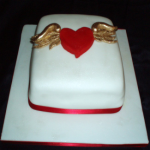 Winged Heart Wedding Cake