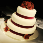 Rose and Velvet Wedding Cake