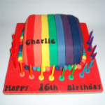 Rainbow stripe cake
